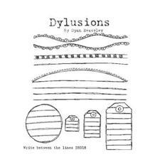 Cling Rubber Stamp Set - Dylusions / Write Between The Lines