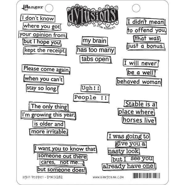 Cling Rubber Stamp Set - Dylusions / Ugh!! People