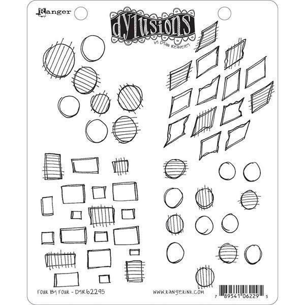 Cling Rubber Stamp Set - Dylusions / Four By Four