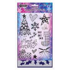 Dylusion Clear Stamp & Stencil Set - Stocking Fillers