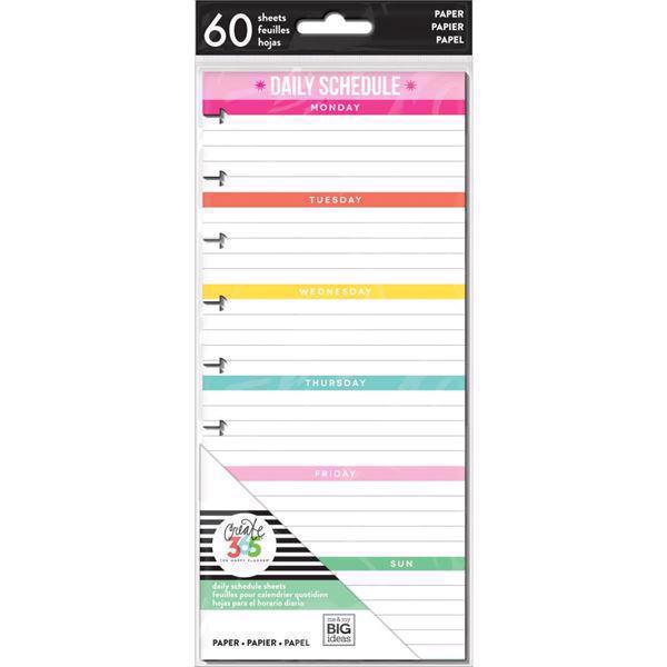 Happy Planner / Create 365 - Half Sheet Fill Paper / Daily Schedule (std)