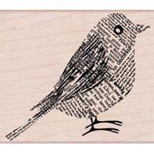 Wood Stamp - Newsprint Bird