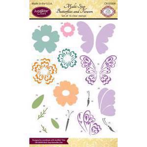 Just Rite Clear Stamp Set - Multi-Step Butterflies and Flowers