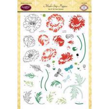 Just Rite Clear Stamp Set - Multi-Step Poppies