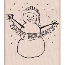 Wood Stamp - Happy Holidays Snowman