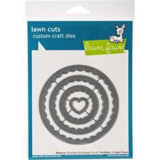 Lawn Cuts - Reverse Stitched Scalloped Circle Window - DIES