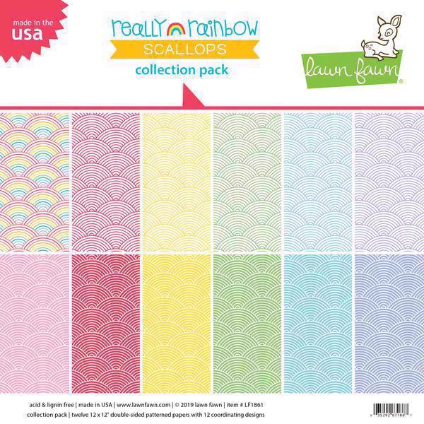"Lawn Fawn Collection Pack 12x12"" - Really Rainbow Scallops"