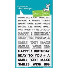 Lawn Fawn Clear Stamp - Offset Saying: Birthday