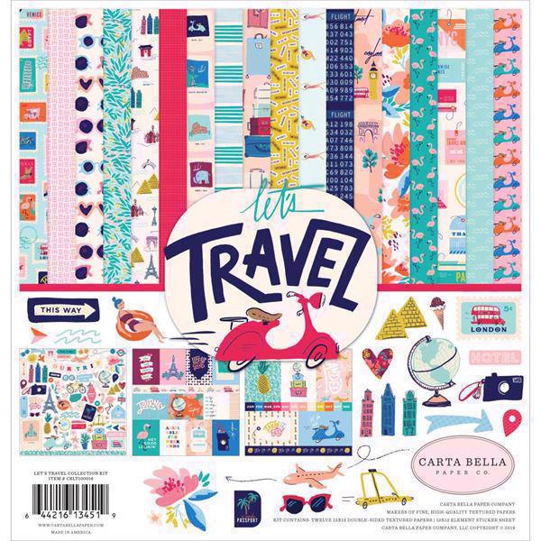 "Carta Bella Scrapbook Paper Collection Kit 12x12"" - Let\'s Travel"