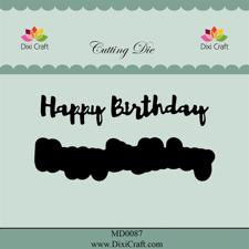 Dixi Craft Die - Happy Birthday (tekst m. skygge)