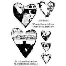Dina Wakley Cling Rubber Stamp Set - Collaged Hearts