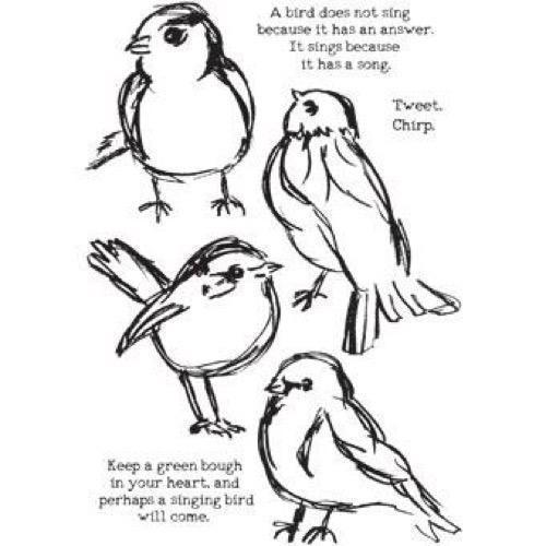 Dina Wakley Cling Rubber Stamp Set - Scribbly Birds