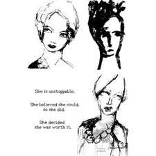 Dina Wakley Cling Rubber Stamp Set - Scribbly Women