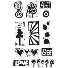 Dina Wakley Cling Rubber Stamp Set - Primitive Icons