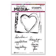 Dina Wakley Cling Rubber Stamp Set - Handwritten Heart Collage