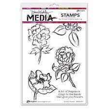 Dina Wakley Cling Rubber Stamp Set - Scribbly Flowers