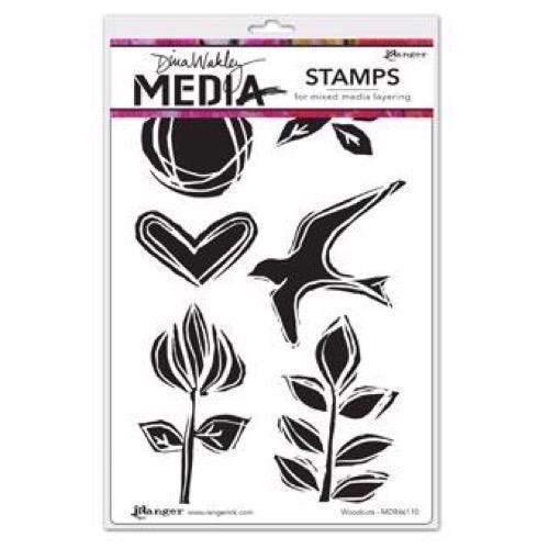 Dina Wakley Cling Rubber Stamp Set - Wood Cuts