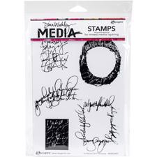 Dina Wakley Cling Rubber Stamp Set - Scribbled Text Elements