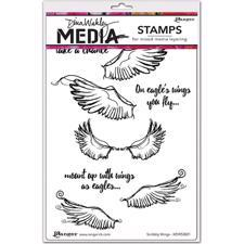 Dina Wakley Cling Rubber Stamp Set - Scribbly Wings