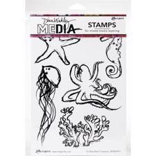 Dina Wakley Cling Rubber Stamp Set - Scribbly Reef Creatures