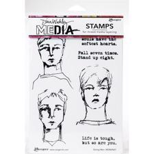 Dina Wakley Cling Rubber Stamp Set - Strong Men