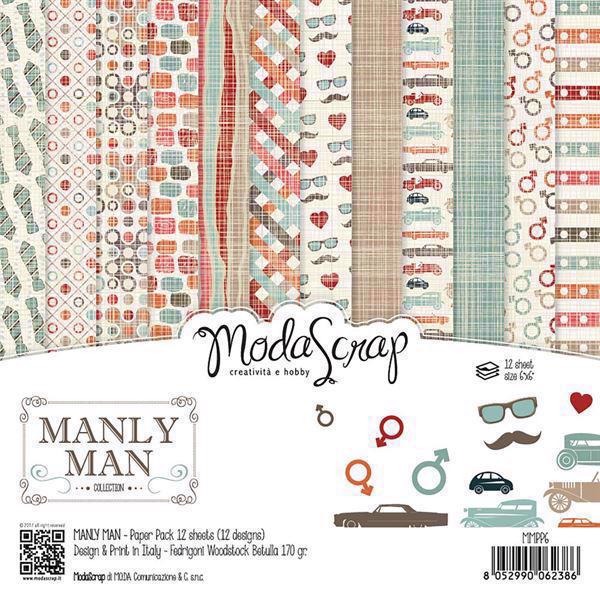 "ModaScrap Paper Pack 6x6"" - Manly Man"