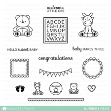 Mama Elephant Clear Stamp Set - Nursery Deco
