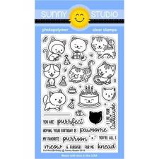 Sunny Studio Stamps - Clear Stamp / Purrfect Birthday