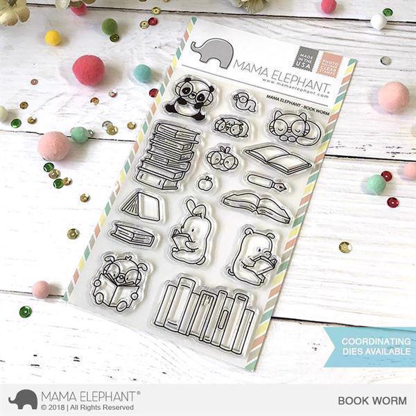 Mama Elephant Clear Stamp Set - Book Worm