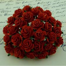 Wild Orchid Crafts - Paper Roses 10mm / Red (orangerød) (100 stk.)