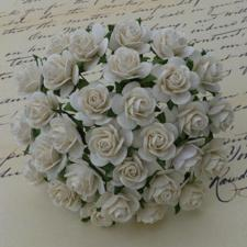 Wild Orchid Crafts - Paper Roses 10mm / Ivory (100 stk.)