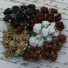 Wild Orchid Crafts - Paper Roses 15mm / Brown Tones (100 stk.)