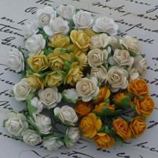 Wild Orchid Crafts - Paper Roses 15mm / Earth-Yellow Tones (100 stk.)