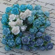Wild Orchid Crafts - Paper Roses 15mm / Blue Tones (100 stk.)