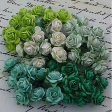 Wild Orchid Crafts - Paper Roses 10mm / Green Tones (100 stk.)