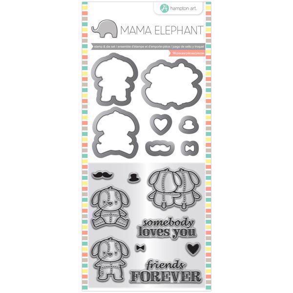 Mama Elephant / Hampton Art Clear Stamp & Die Set - Lovey Puppy (mini)