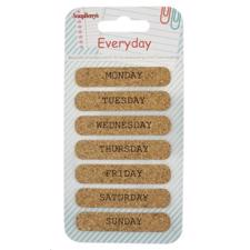 ScrapBerrys CORK Stickers - Everyday 3 / Weekdays