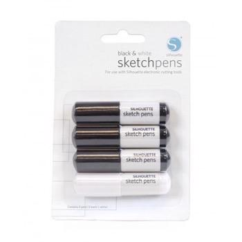 Silhouette Sketch Pens - 3 Black + 1 White