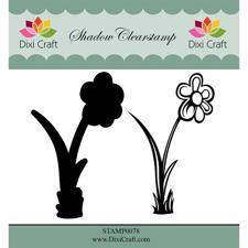 Dixi Craft Clearstamp - Flower 3  (inkl. skygge)