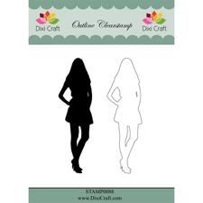 Dixi Craft Clearstamp - Outline Girl  (inkl. skygge)