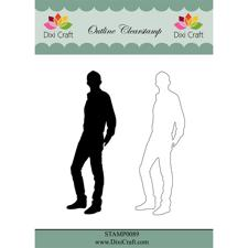 Dixi Craft Clearstamp - Outline Boy  (inkl. skygge)
