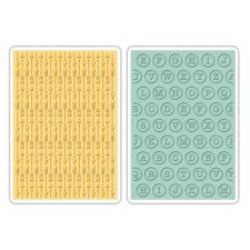 Sizzix Embossing Folders Set - Arrows & Typewriter Keys