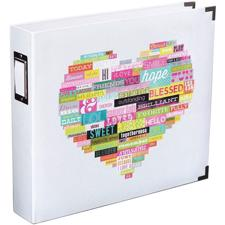 "Project Life Album 12x12"" - Heidi Swapp Edition / White/Grey Pattern w. Printed Heart"