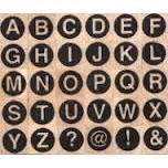 Artemio Wood Mounted Stamp - Alphabet Circles Upper Case