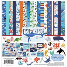 "Carta Bella Scrapbook Paper Collection Kit 12x12"" - Fish are Friends"