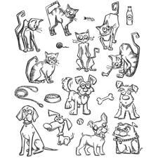 Tim Holtz Cling Rubber Stamp Set - MINI Crazy Cats & Dogs
