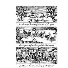 Tim Holtz Cling Rubber Stamp Set - Holiday Scenes