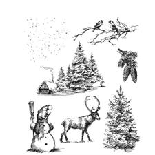 Tim Holtz Cling Rubber Stamp Set - Winterscape