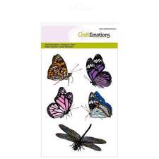 CraftEmotions Clear Stamp Set - Butterflies & Dragonfly (5 pcs)