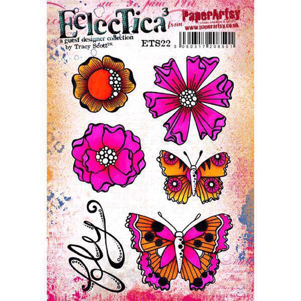 PaperArtsy A5 Cling Stamp - Tracy Scott No. 22 / Flowers fly